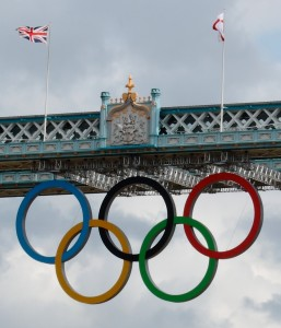 """Olympic rings on Tower Bridge"""
